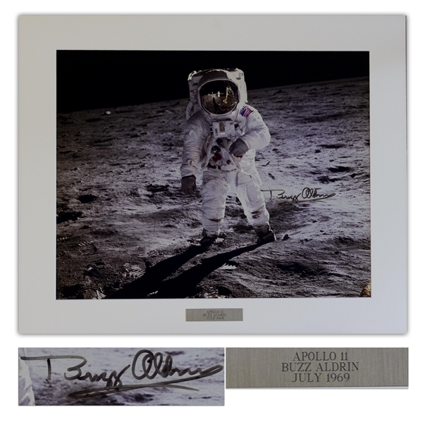 Buzz Aldrin Fantastic Signed 20'' x 16'' Photo of the First Lunar Landing