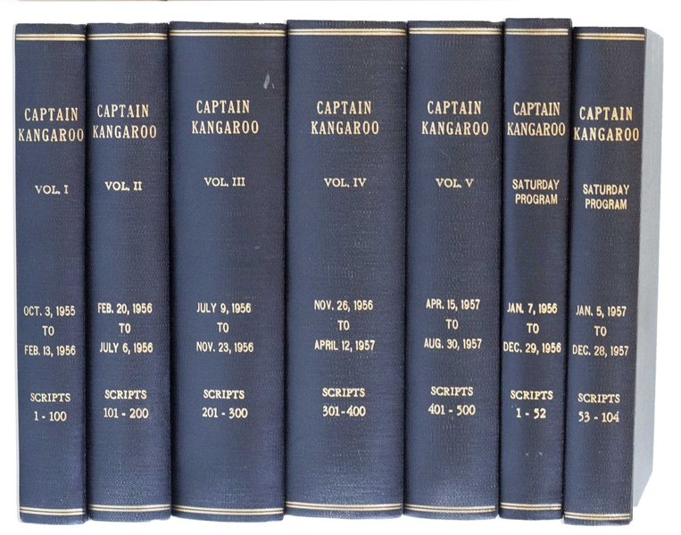Spectacular Collection of ''Captain Kangaroo'' Scripts Owned by Bob Claver, Who Wrote & Produced the First Five Seasons -- Bound in 7 Volumes