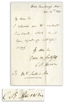 Charles Darwin Autograph Letter Signed From November 1851