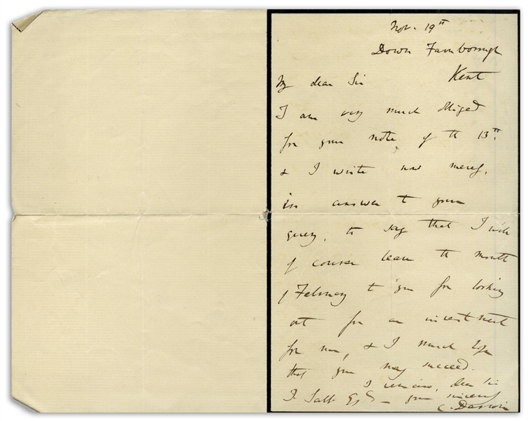 Charles Darwin Autograph Letter Signed -- Darwin Writes to His Financial Advisor Regarding an Investment