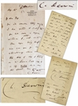 Lot of Two Charles Darwin Autograph Letters Signed With Evolution Related Content -- ...I was particularly glad to hear you and your brothers statement about the gay deceiver-pigeons...