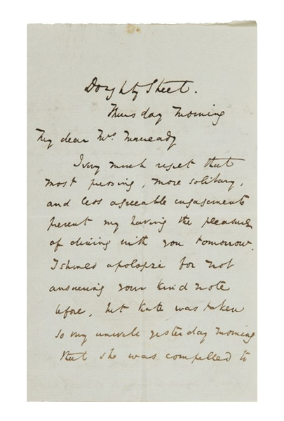 Charles Dickens Autograph Letter Signed, Under Deadline for ''Oliver Twist'': ''...I have had the resolution to shut myself up so strictly with Oliver Twist...''