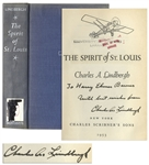 Charles Lindbergh Signed Copy of The Spirit of St. Louis -- Inscribed to the Controversial Historian Harry Elmer Barnes