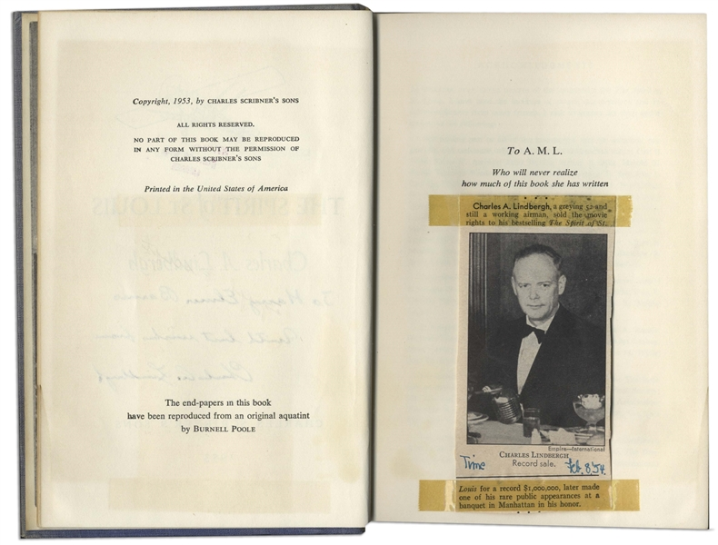 Charles Lindbergh Signed Copy of ''The Spirit of St. Louis'' -- Inscribed to the Controversial Historian Harry Elmer Barnes