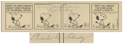 Charles Schulz Signed Copy of a Peanuts Comic Strip With Snoopy Playing Hockey