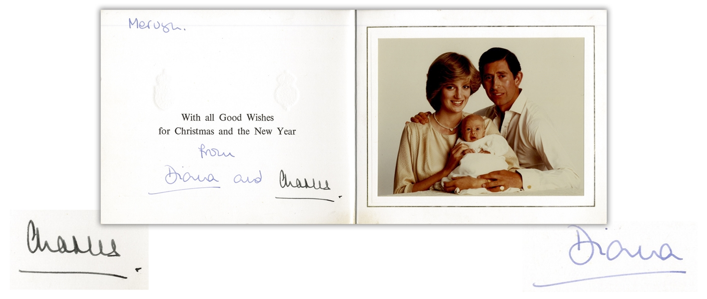 Princess Diana and Prince Charles Signed Christmas Card From 1982 -- With Family Portrait of Prince William as an Infant