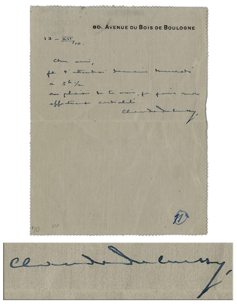 Rare Claude Debussy Autograph Letter Signed to Paul Vidal