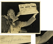 Harry Truman Twice-Signed 10 x 8 Photograph, Famously Showing Truman Holding Up the Dewey Defeats Truman Newspaper -- Original UPI Press Photo -- With University Archives COA