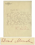 "Very Rare Edvard Munch Autograph Letter Signed From the Kornhaug Sanatorium in 1900 -- ""…I am thinking of traveling to Dresden then, concerning an exhibit of my works…"""