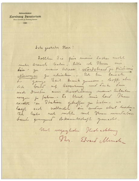 Very Rare Edvard Munch Autograph Letter Signed From the Kornhaug Sanatorium in 1900 -- …I am thinking of traveling to Dresden then, concerning an exhibit of my works…