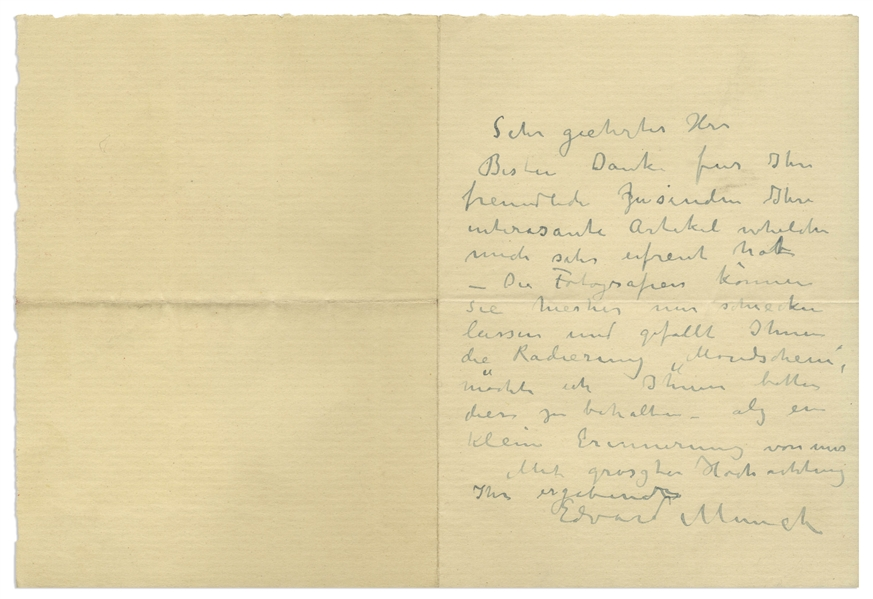 Very Rare Edvard Munch Autograph Letter Signed Referencing His Moonlight Etching