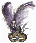 Farrah Fawcett Personally Owned Venetian Eye Mask -- With Elaborate Purple & Black Feathers