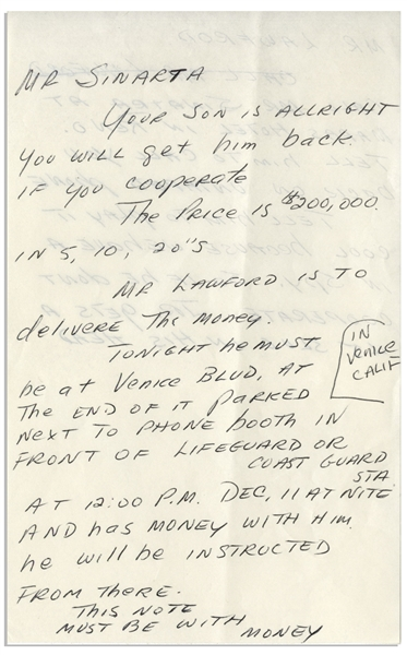 Original Frank Sinatra Jr. Ransom Note Sent to Peter Lawford When Sinatra Was Kidnapped in 1963