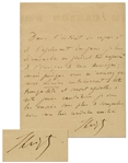Franz Liszt Autograph Letter Signed Mentioning His Lieder Compositions -- ...since you are assuring me that my Lieder will contribute to your peace...