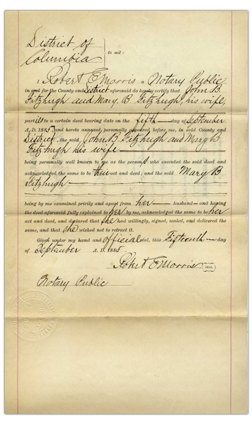 Frederick Douglass Document Signed as Recorder of Deeds