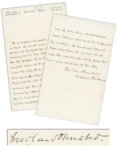 Frederick Law Olmsted Letter Signed as Superintendent of Central Park, During Its Construction -- ''those who have no means to go into the country for relief from the heat and turmoil of the city''