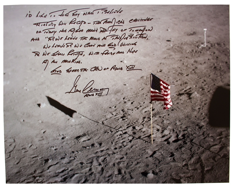 Gene Cernan Signed 20'' x 16 Photo with Extensive Handwritten Quote -- ''America's challenge of today has forged man's destiny of tomorrow''