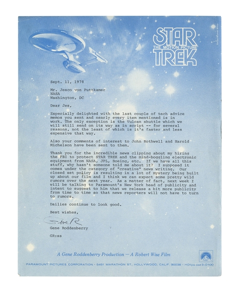 Gene Roddenberry Letter Signed Regarding ''Star Trek'' -- ''...Our closed set policy is resulting in a lot of mystery being built up about our film...''