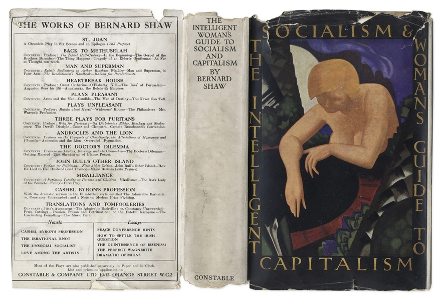 George Bernard Shaw Signed First Edition of His ''Magnum Opus'', ''The Intelligent Woman's Guide to Socialism and Capitalism''