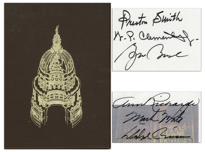 George W. Bush Signed Limited Edition of ''The Capitol of Texas'' -- Gorgeous, Leather-Bound Volume Also Signed by Five Other Texas Governors
