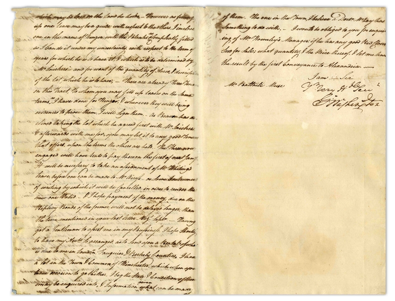 George Washington Letter Signed From 1785 -- In this Almost Humorous Letter, Washington Manages Renters on His Land, and Appeals to His Land Agent for Help