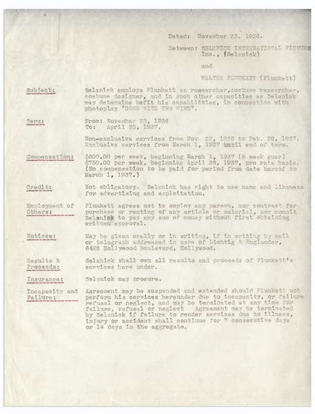'Gone With the Wind'' Employment Contract Signed by David O. Selznick and Costume Designer Walter Plunkett -- ''...Selznick employs Plunkett...in connection with photoplay 'GONE WITH THE WIND'...''