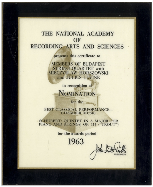 Grammy Nomination for Best Classical Performance in 1963