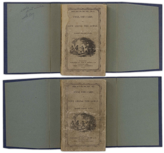 First Edition, First Printing of ''Uncle Tom's Cabin'' by Harriet Beecher Stowe -- The Scarcest Variant of the First Printing, in Publisher's Wrappers