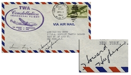 Howard Hughes Signed First Day Cover for the 1944 Flight of the Constellation -- Also Signed by TWA President & Hughes Co-Pilot Jack Frye -- With University Archives COA