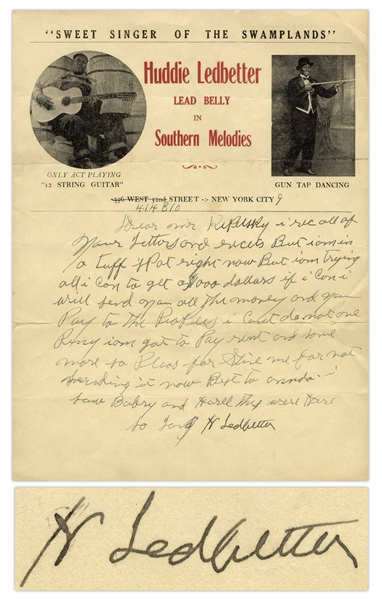 Scarce Huddie ''Lead Belly'' Ledbetter Autograph Letter Signed, Circa Early 1940s -- ''...am in a tuff spot right now but I'm trying all I can to get a $1000 dollars...''