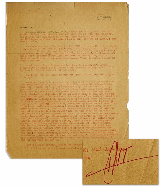 Hunter S. Thompson Letter Signed From 1959 -- ''...a huge man in shorts and a cigar standing over the bed, jabbering about...bastards sleeping in his bed...''