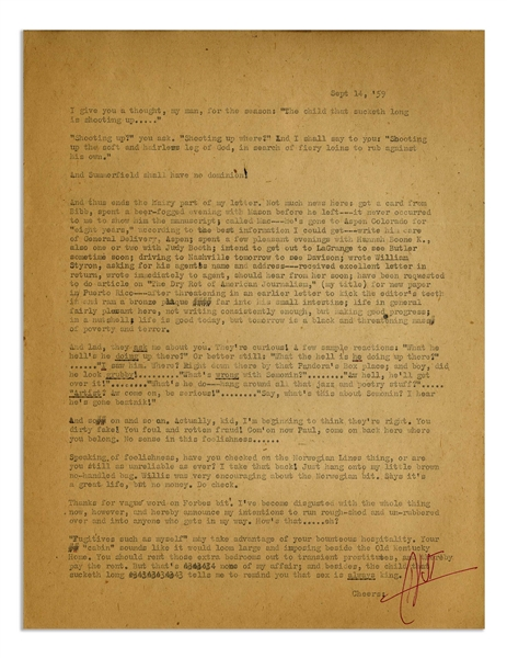 Hunter S. Thompson Letter Signed -- Fantastic Letter With Dozens of Quotable Lines: ''...have been requested to do article on 'The Dry Rot of American Journalism' (my title)...''