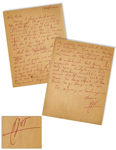 Hunter S. Thompson Autograph Letter Signed -- ''...all sorts of people are after me - police, creditors, ins. companies...''