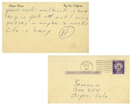 Hunter S. Thompson Autograph Letter Signed From Big Sur in 1961 -- ...Life is hairy...