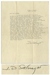 J.D. Salinger Letter Signed From 1953, Commenting on Several of His Stories -- ...About Seymours suicide in Bananafish...