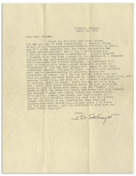 J.D. Salinger Letter Signed From 1953, Commenting on Several of His Stories -- ''...About Seymour's suicide in 'Bananafish'...''