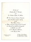 Texas Welcome Dinner Invitation to the Event Honoring President John F. Kennedy the Night of His Assassination