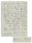 James Joyce Autograph Letter Signed in 1923 to the Sculptor August Suter -- Shortly After the Publication of Ulysses in 1922