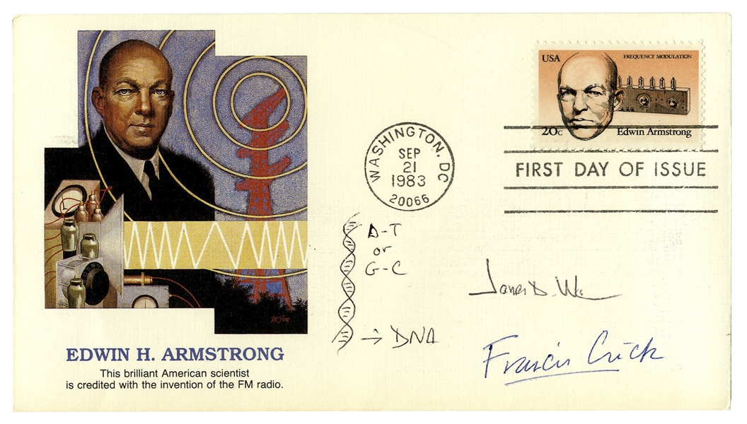 James Watson and Francis Crick Signed First Day Cover -- With a Drawing by Watson of a DNA Double Helix -- With PSA/DNA COA