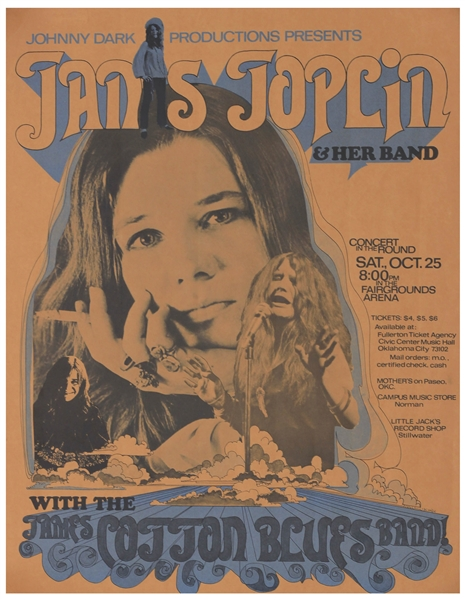 Janis Joplin First Printing Concert Poster -- For Show on 25 October 1969 in Oklahoma City