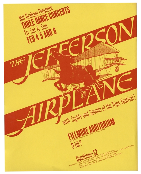Jefferson Airplane Fillmore Poster by Bill Graham From 1966 -- The First in Graham's Numbered Concert Series -- Near Fine Condition