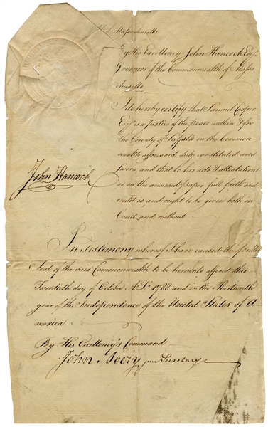 John Hancock Document Signed as Governor of Massachusetts