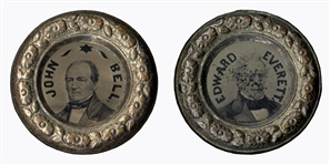 Campaign Ferrotype for the 1860 Constitutional Union Party -- Ferrotypes on Each Side Feature Candidates John Bell & Edward Everett