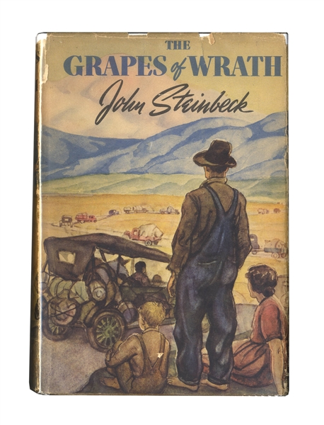 John Steinbeck Signed Copy of ''The Grapes of Wrath'' -- Inscribed to the Famous Mexican Filmmaker Emilio Fernandez, -- ''...in hope that we will have more grapes than wrath...''