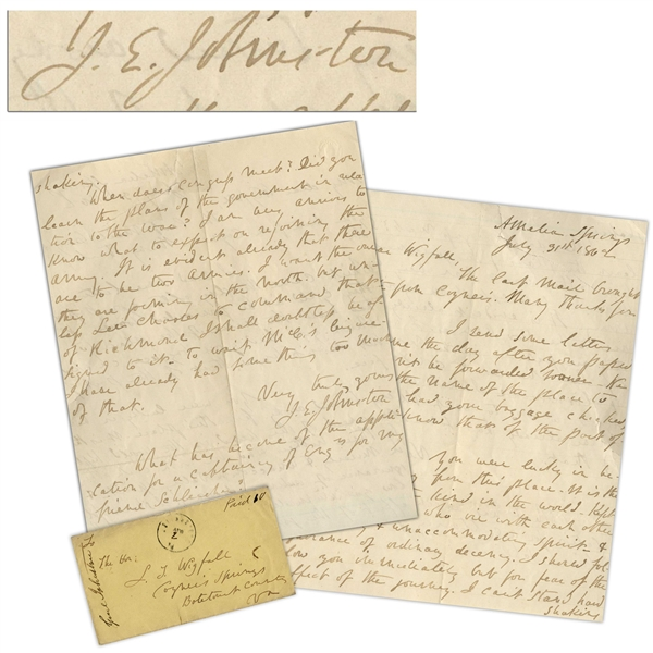 General Joseph Johnston Autograph Letter Signed From July 1862 While Recovering From His Wounds After Being Replaced by Lee -- ''...I am very anxious to know what to expect on rejoining the army...''