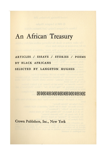 Langston Hughes Twice-Signed Copy of ''An African Treasury'' -- Writings Selected by Hughes by Black Africans
