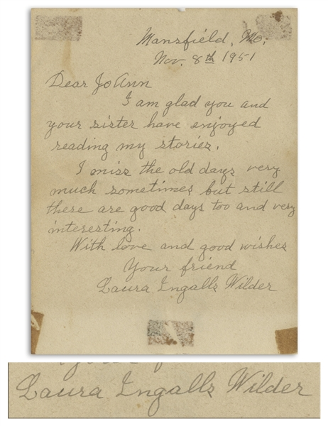 Laura Ingalls Wilder Autograph Letter Signed -- ''...I miss the old days very much sometimes...''