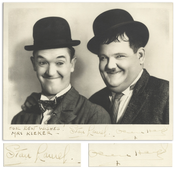Laurel and Hardy Signed 10'' x 8'' Photo -- Near Fine Condition