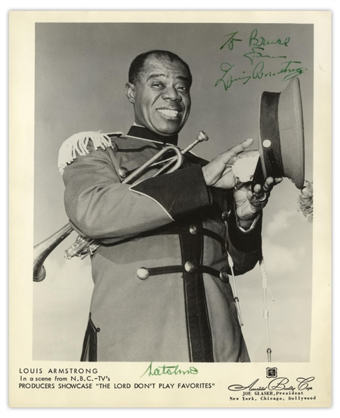 Louis Armstrong Signed 8'' x 10'' Photo -- Signed Both as ''Louis Armstrong'' & With His Nickname ''Satchmo''