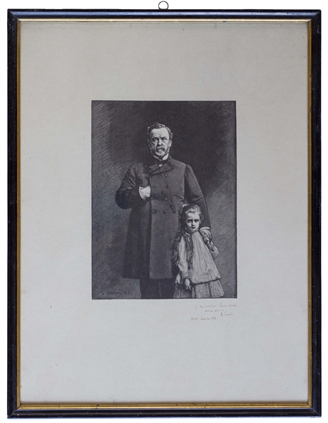Louis Pasteur Signed Portrait Engraving